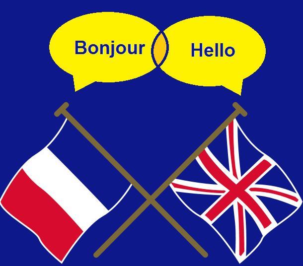 אנגלית וצרפתית השפות בכל היבשות