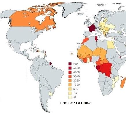 צרפתית שפה רשמית ב-32 מדינות